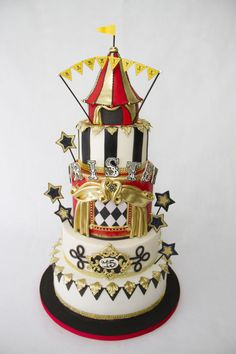 Antique Circus Cake - Cake by Andres Enciso Carnival Birthday Cakes, Carnival Cakes, Circus Cakes, Circus Carnival Party, Circus Theme Party, Circus Wedding, Circus Birthday, 15th Birthday, Night Circus