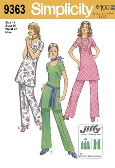 Simplicity 9363 Misses 70s Jiffy Tunic and Pants with Three Necklines Sewing Pattern Size 14 Bust 36 by Denisecraft on Etsy