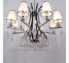 Żyrandol LAMPA wisząca GLAMOUR LDP 66247-8(WT) Lumina Deco abażurowa OPRAWA glamour z kryształkami crystal chrom biała