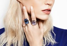 Blue Bohemian inspiration… Mix of blue, pink and lilac crystal. Wear the Boheme rings by Lilou! #lilou #ring #boheme #crystal #blue #pink #lilac