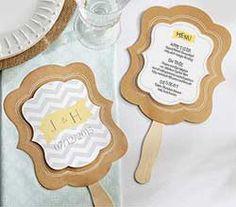 Personalized Kraft Fan - Rustic Wedding - Hand Fan Favors by Kate Aspen