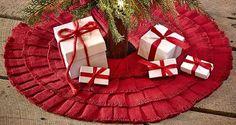 Burlap Red Ruffled Mini Tree Skirt 21