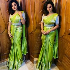 I look my best in saree Always 💚 One post for my self 🙈 . Pattu Saree Blouse Designs, Half Saree Designs, Fancy Blouse Designs, Bridal Blouse Designs, Dress Designs, Mehndi Designs, Seda Sari, Saree With Belt, Stylish Blouse Design