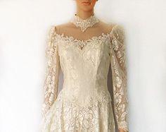 Vintage Spitzenkleid, 80's Böhmische Spitze Cocktail, Wedding, Party Kleid