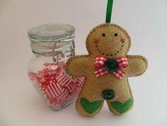 Felt Gingerbread Man Ornament - Pickle