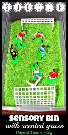 Soccer Sensory Bin for Pretend Play with Scented Grass. Pinned by The Jenny Evolution.
