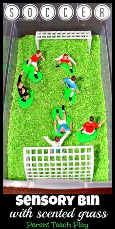 Soccer Sensory Bin for Pretend Play - Parent Teach Play
