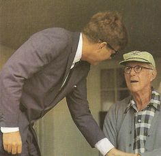 President Kennedy bids farewell to his father on the porch of the Joe and Rose Kennedy House in what proved to be the last time they saw each other........