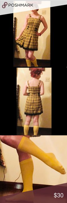 "Tripp NYC Yellow Plaid Pleated Punk Goth Hot Topic A cute dress back from my high school days when I dressed punk and goth.  My style has changed, so I don't really wear it anymore. Super cute skull designs in the lace, plaid is red and black on bright yellow. Forever 21 knee high socks included; its the only thing I wore them with.  Straps have been cut because I'm ver short. Used to be some kind of chain for the sides I do not have. See pics. Straps about 13"" front to back. Dress is 31""…"