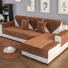 Non-Slipping Sofa slipcover,Thicken Solid Color Quilted Sofa Furniture Protectors Backing and armrest Sold Separately Sectional Sofa Throw Cover pad-A Diy Sofa Cover, Sofa Throw Cover, Corner Sofa Living Room, Living Room Sofa Design, Designer Bed Sheets, Wooden Sofa Designs, Sofa Bed Design, Sofa Bed With Storage, Furniture Sofa Set