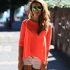 Women's Casual Stretchy Long Sleeve Regular T-shirt (Cotton)