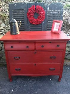 Antique Dresser Makeover: From Drab to Fab – Meet Red Hot Rhetta!
