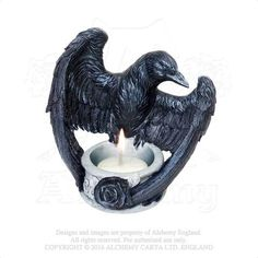 Raven Tea Light Candle holder - Alchemy Gothic Raven Crow with Black Rose Candle holder - Nevermore Raven's Ward