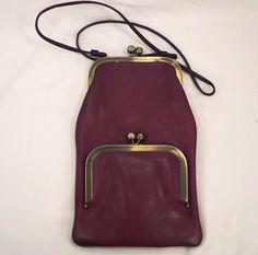 Vintage Rare Purple Leather Coach, Bonnie Cashin Double Kiss-Lock, Slim Side Purse
