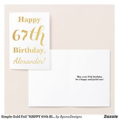 """Shop Simple Gold Foil """"HAPPY BIRTHDAY"""" + Name Foil Card created by AponxDesigns. Happy 19th Birthday, Foil Card, Birthday Greeting Cards, Card Birthday, 85th Birthday, Gold Foil, Wrapping, Simple, Paper"""