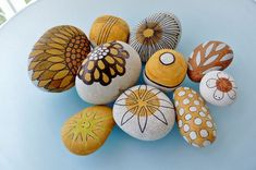 "collection ""orange/brown"" ... pebbles by Sabine Ostermann,  hand painted with permanent water color"
