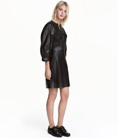 Balloon-sleeved Leather Dress | Black | Ladies | H&M US