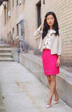 Extra Petite - bright pink pencil skirt