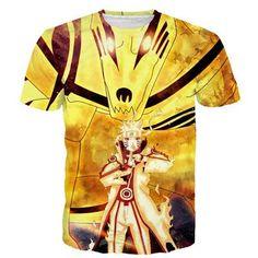 Classic Anime Naruto Gold Kurama and Uzumaki Naruto Print T-shirt …