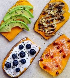 Avocado toast is so old news. Sweet potato toast, of course. It's the perfect way to satisfy your need for warm toast if you're grain-free. Loaded Sweet Potato, Sweet Potato Toast, Superfood, Healthy Snacks, Healthy Recipes, Chia, Tasty, Yummy Food, Food Trends