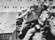 """""""Marlene Dietrich Gets a Hero's Welcome in New York Harbor,"""" August 1945."""