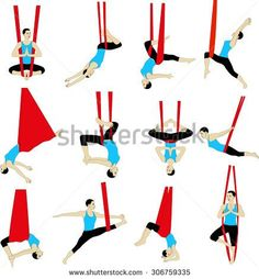 Aerial Yoga. Anti-Gravity Yoga. Woman Doing Anti Gravity Yoga ...