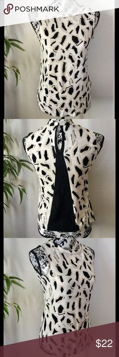 Zara sleeveless top Abstract leopard pattern with cute black insert on back. Washable rayon material. Measurements laying flat: armpit to armpit 16 inches, length 22 inches. Excellent condition, no stains or tears. Zara Tops Blouses