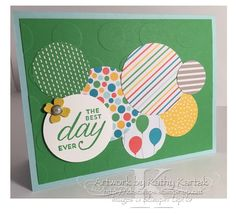 "Retro Circles is made with Stampin' Up's ""Birthday Blossoms"" stamp set and ""Cherry on Top"" designer series paper stack."