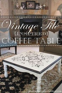 Table with Vintage Tile-Inspired Design. More pics in link. Furniture makeover / redo / painted furniture.