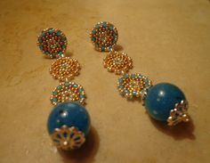 Earrings pendant handmade, Orecchini pendenti, Delica Miyuki, tecn.Peyote