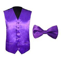 Tuxedo Wedding Dress Vest & Bow Tie Set for Men Wedding Dress Men, Tuxedo Wedding, Mens Tux, Vest And Bow Tie, Dress Vest, Tie Set, Purple, Vests, Shoes
