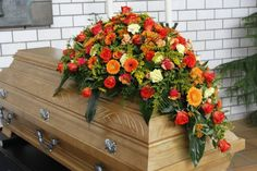 Funeral Floral Arrangements, Flower Arrangements, Funeral Flowers, Orange, Floral Wreath, Wreaths, Art Floral, Home Decor, Funeral Flower Arrangements