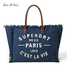 b4e3099db319 beach bag canvas letter totes bag jumbo large big tassel bag women shopping bags  handbag summer