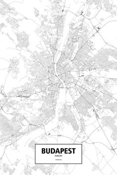 Budapest, Hungary - Routelines: detailed posters and prints of cities and their roads