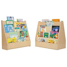 Early readers and coloring books are an unmistakable hallmark of any developmental space.  The Wood Designs Contender Book Display - Fully Assembled provides ample room to clearly display an entire library of your children's favorite books.  The sloping design makes it a cinch for any young person to grab their own book and the double-sided feature keeps everything tidy just like you like it.Being certified by the Greenguard Environmental Institu