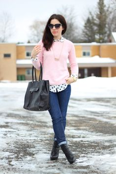 Polka dot and a pink sweater