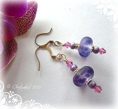 Violet Leopard Lampwork Earrings on ETSY!! $14.95