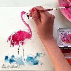 """I paint for myself. Also, I have to earn my living, and occupy myself."" - Francis Bacon By 💫 Release your creativity with a BONUS eBook Library by buying NIL Tech Pencil Set, click ➡️THE LINK What Watercolor Bird, Watercolour Painting, Painting & Drawing, How To Watercolor, Flamingo Painting, Watercolor Paintings For Beginners, Watercolour Tutorials, Art Tutorials, Art Drawings"