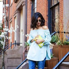 The perfect Spring transition top, Tibi's cotton poplin tunic, shop it on Moda Operandi now!