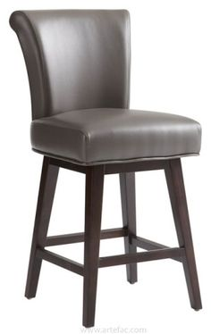 """This elegant rolled back swivel bar and counter stool is the perfect mix of transitional design and comfort. available in Brown, Grey, Cognac or Ivory commercial grade bonded leather with an espresso finished frame. A black metal plate protects the footrest from wear and tear.    Dimensions   BarStool: W-20"""" x D-23.5"""" x H-44.5"""" x SH: 30""""  Counter Stool: W-20"""" x D-23.5"""" x H-40.5"""" x SH: 26"""""""