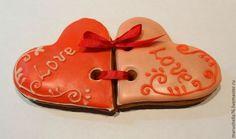 Купить Пряничные сердечки двойные на день Святого Валентина - сердечки, День Святого Валентина