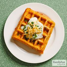 Chili Cornbread Squares: With a batter that combines corn, hearty beans, and sweet bell peppers, this comforting waffle tastes like a bowl of homemade chili with a side of buttery cornbread. Top it with a dollop of our avocado cream.