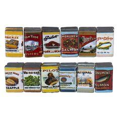 24 Piece Vintage Grocery Tin Set