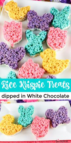Rice Krispie Treats Dipped in White Chocolate and colored for Spring - so beautiful, so tasty and so easy to make. This is an Easter dessert that is fun, easy, and delicious. Your family will love this unique Easter treat that is dipped in yummy White Chocolate. Pin these pretty Easter Rice Krispie Treats for later and follow us for more great Easter Food Ideas. Easter Food, Easter Treats, Easter Recipes, Easter Cookie Cutters, Easter Cookies, Homemade Rice Krispies Treats, Mini Marshmallows, Candy Recipes, White Chocolate