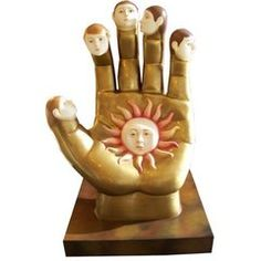Signed Sergio Bustamante Ceramic Hand with Faces