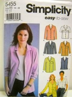 Womens Easy to Sew Shirt Pattern, Simplicity 5455, Sewing Notions, Plus Size Shirt Pattern