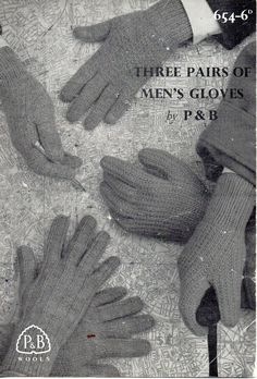 mens gloves knitting pattern 1950s 4 needles patterned gloves DK / 8 ply & 4 ply mens knitting patterns pdf instant download by Hobohooks on Etsy