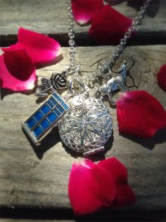 Rose  Doctor Who Charm Essential Oil Diffusing Necklace by OverYourHeart