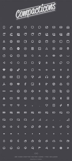 Compacticons is a set including 180 good looking icons for mobile app design. Free PSD designed and released bytatosXL.