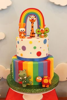 Violeta Glace 's Birthday / Baby TV - Photo Gallery at Catch My Party Baby Birthday Cakes, Rainbow Birthday Party, Birthday Party Themes, Gateau Baby Shower, Baby Shower Cakes, Baby Tv Cake, Super Torte, Cakes For Boys, 1st Birthdays
